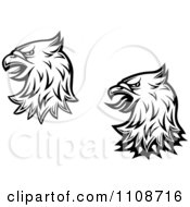 Clipart Black And White Heraldic Eagle Heads Royalty Free Vector Illustration