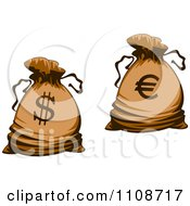 Clipart Bank Money Bags With Dollar And Euro Symbols Royalty Free Vector Illustration by Vector Tradition SM