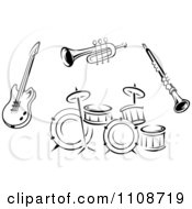 Clipart Black And White Musical Instruments 2 Royalty Free Vector Illustration