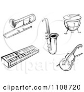 Clipart Black And White Musical Instruments 1 Royalty Free Vector Illustration