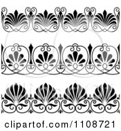 Clipart Black And Whtie Art Deco Border Design Elements 2 Royalty Free Vector Illustration
