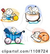 Clipart Happy Babies Doing Different Activities Royalty Free Vector Illustration