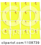 Clipart Background Of Pins And Yellow Memo Notes 2 Royalty Free Vector Illustration
