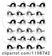 Clipart Seamless Scared Black Cat Background Pattern Royalty Free Vector Illustration