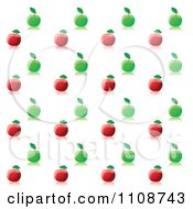 Clipart Seamless Red And Green Apple Background Pattern And Reflections Royalty Free Vector Illustration