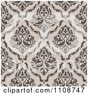 Clipart Seamless Taupe Floral Swirl Background Pattern Royalty Free Vector Illustration