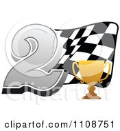 Clipart Gold Trophy Cup Number 2 And Checkered Motor Sports Racing Flag Royalty Free Vector Illustration