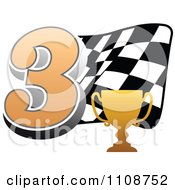 Clipart Gold Trophy Cup Number 3 And Checkered Motor Sports Racing Flag Royalty Free Vector Illustration