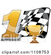 Clipart Gold Trophy Cup Number 1 And Checkered Motor Sports Racing Flag Royalty Free Vector Illustration