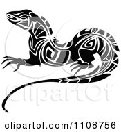 Clipart Black And White Tribal Lizard 3 Royalty Free Vector Illustration