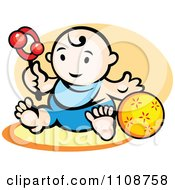 Clipart Happy Baby Playing With A Toy And Ball Royalty Free Vector Illustration by Vector Tradition SM