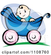 Clipart Happy Baby In A Stroller Royalty Free Vector Illustration