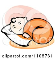 Clipart Happy Baby Sleeping On A Pillow Royalty Free Vector Illustration