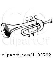 Clipart Black And White Trumpet Musical Instrument Royalty Free Vector Illustration