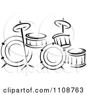 Clipart Black And White Drum Set Musical Instrument Royalty Free Vector Illustration