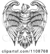 Clipart Black And White Heraldic Eagle Crest Royalty Free Vector Illustration