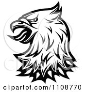Clipart Black And White Heraldic Eagle Head 2 Royalty Free Vector Illustration