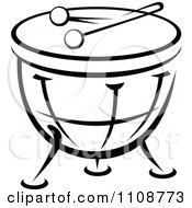 Clipart Black And White Drum Musical Instrument Royalty Free Vector Illustration