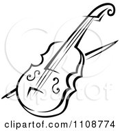 Clipart Black And White Violin Musical Instrument Royalty Free Vector Illustration by Vector Tradition SM
