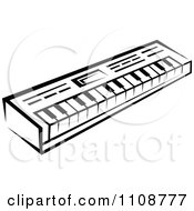 Clipart Black And White Keyboard Musical Instrument Royalty Free Vector Illustration