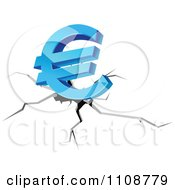 Clipart 3d Blue Euro Symbol Over A Fissure Royalty Free Vector Illustration
