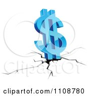 Clipart 3d Blue Dollar Symbol Over A Fissure Royalty Free Vector Illustration by Vector Tradition SM