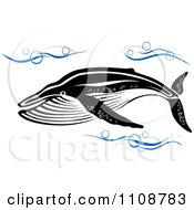 Clipart Swimming Black And White Humpback Whale In Blue Waves Royalty Free Vector Illustration by Vector Tradition SM