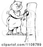 Clipart Black And White Outlined Wombat Chopping Wood Royalty Free Vector Illustration by Dennis Holmes Designs