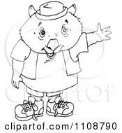 Clipart Black And White Outlined Wombat Waving Royalty Free Vector Illustration by Dennis Holmes Designs