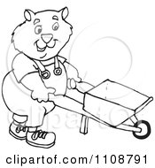 Clipart Black And White Outlined Wombat Pushing A Wheelbarrow Royalty Free Vector Illustration by Dennis Holmes Designs