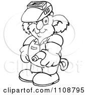 Clipart Black And White Outlined Koala Welder Royalty Free Vector Illustration