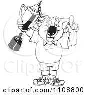 Clipart Black And White Outlined Winner Koala Holding A Trophy Royalty Free Vector Illustration