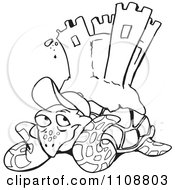 Clipart Black And White Outlined Sea Turtle With A Sand Castle On His Back Royalty Free Vector Illustration by Dennis Holmes Designs