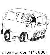 Black And White Outlined Kangaroo Driving A Van