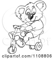 Clipart Black And White Outlined Koala Riding A Trike Royalty Free Vector Illustration