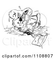 Clipart Black And White Business Koala Drowning In Phone Calls Royalty Free Vector Illustration