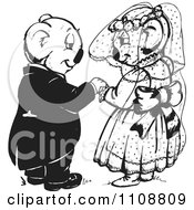Clipart Black And White Koala Wedding Couple Royalty Free Vector Illustration