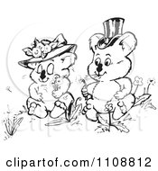 Clipart Black And White Koala Wedding Couple Blowing Dandelion Wishes Royalty Free Vector Illustration