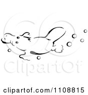 Clipart Black And White Platypus Swimming With Bubbles Royalty Free Vector Illustration by Dennis Holmes Designs