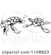 Clipart Black And White Outlined Swimming Sea Turtles Royalty Free Vector Illustration by Dennis Holmes Designs