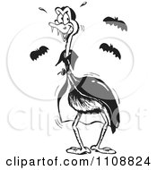 Clipart Black And White Emu Vampire Royalty Free Vector Illustration by Dennis Holmes Designs