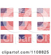 Clipart Scribbled American Flags Royalty Free Vector Illustration