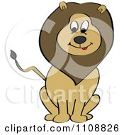 Clipart Happy Sitting Lion Royalty Free Vector Illustration