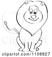 Clipart Outlined Happy Sitting Lion Royalty Free Vector Illustration