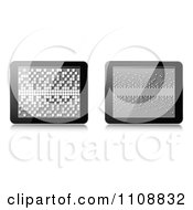 Clipart 3d Computer Tablets With Pixels On The Screens Royalty Free Vector Illustration