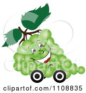 Clipart Happy Bunch Of Green Grapes On Wheels Royalty Free Vector Illustration by Andrei Marincas