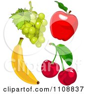 Clipart Bunch Of Green Grapes Red Apple Cherries And Banana Royalty Free Vector Illustration