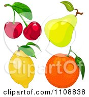Clipart Cherries A Pear Lemon And Orange Royalty Free Vector Illustration by Pushkin