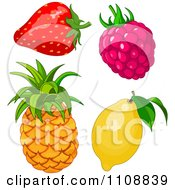 Clipart Strawberry Raspberry Pineapple And Lemon Royalty Free Vector Illustration