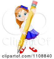 Clipart Happy School Girl Writing With A Giant Pencil Royalty Free Vector Illustration by Pushkin
